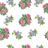 Seamless pattern with  watercolor daisies. Royalty Free Stock Image