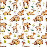 Seamless pattern with watercolor deers, baby deers and floral elements royalty free illustration