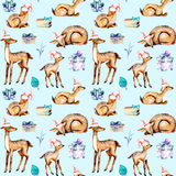 Seamless pattern with watercolor deers in Christmas hats, baby deers and gift boxes. Hand painted isolated on blue background Royalty Free Stock Photography
