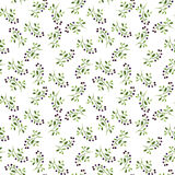 Seamless pattern with watercolor doodle plants Stock Photography