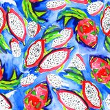 Seamless pattern with  watercolor dragon fruit, stock illustration