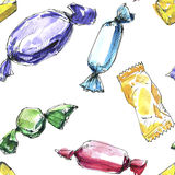 Seamless pattern with watercolor drawing candy Stock Photos