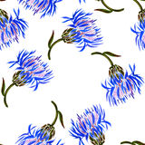 Seamless pattern with watercolor drawing cornflowers Stock Photo