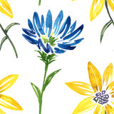 Seamless pattern with watercolor drawing flower Royalty Free Stock Image