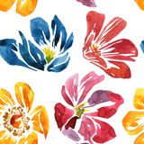 Seamless pattern with watercolor drawing flower Stock Photos