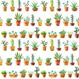 Seamless pattern with watercolor drawing home plants. Seamless pattern with watercolor drawing house plants, cacti and succulents, hand drawn illustration Stock Image