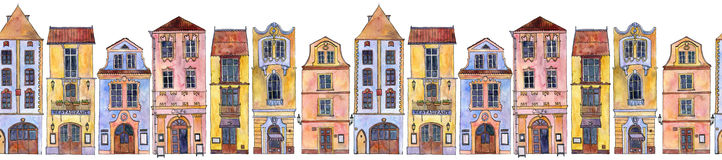 Seamless pattern with watercolor drawing houses Stock Photography