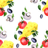 Seamless pattern with watercolor drawing vegetables Stock Photo