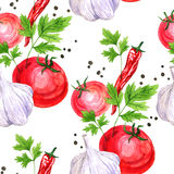 Seamless pattern with watercolor drawing vegetables Royalty Free Stock Image