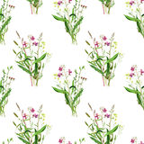 Seamless pattern with watercolor drawing wild flowers. Seamless pattern with watercolor drawing bouquets of wild flowers, painted field plants, botanical Royalty Free Stock Photos