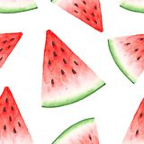 Seamless pattern of watercolor drawings of a slice of red watermelon Royalty Free Stock Image
