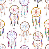 Seamless pattern with watercolor dreamcatchers, hand drawn on a white background Stock Images