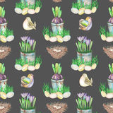 Seamless pattern with watercolor Easter bird eggs, nests, crocus flowers in the pots and cute birds. Hand drawn on a dark background Royalty Free Stock Photo