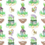 Seamless pattern with watercolor Easter bird eggs, nests, crocus flowers in the pots. And cute birds, hand drawn on a white background Royalty Free Stock Photos