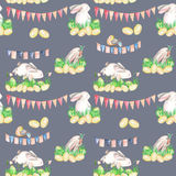 Seamless pattern with watercolor Easter rabbits in grass, eggs and garlands with flags Royalty Free Stock Images