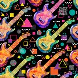 Seamless pattern with watercolor electric guitar and decorative geometric elements on black background. Colorful design for retro party in memphis style Royalty Free Stock Photography