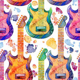 Seamless pattern with watercolor electric guitar and splashes on white background. Abstract hand drawn illustration Stock Images