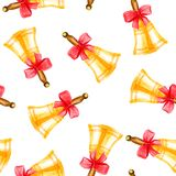 Seamless pattern of watercolor elements for graduation, hand-drawn bells royalty free illustration