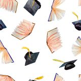 Seamless pattern of watercolor elements for graduation, hand-drawn books and graduation caps vector illustration