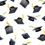 Seamless pattern of watercolor elements for graduation, hand-drawn graduation caps royalty free illustration