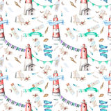 Seamless pattern with watercolor elements to the marine theme. Lighthouse, shells, flags, seagulls, letters and others; hand painted on a white background Stock Photo