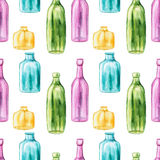 Seamless Pattern of Watercolor Empty Multicolored Bottles Stock Photos