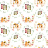 Seamless pattern with watercolor english cartoon houses inside the floral wreaths Royalty Free Stock Photo