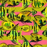 Seamless Pattern with Watercolor Exotic Fish and Horizontal Stri. Pes. Summer Print for Fabric, Textile, Dress, Wallpaper, Tile, Wrapping. Travel Ocean Stock Photo