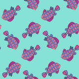 Seamless pattern of watercolor fantasy fish Royalty Free Stock Images