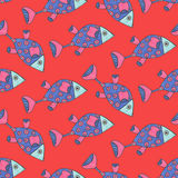 Seamless pattern of watercolor fantasy fish Stock Image