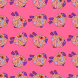 Seamless pattern of watercolor fantasy fish Stock Photo