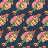 Seamless pattern of watercolor fantasy fish Royalty Free Stock Photo