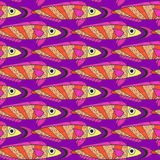 Seamless pattern of watercolor fantasy fish Stock Photos