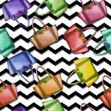 Seamless Pattern - Watercolor fashion designer bag Stock Image