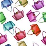 Seamless Pattern - Watercolor fashion designer bag Stock Images