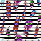 Seamless pattern with watercolor feathers. Can be used for textile print, design tile, wallpaper, abstract background. Seamless Pattern with Watercolor Feathers Royalty Free Stock Photo