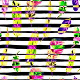 Seamless pattern with watercolor feathers. Can be used for textile print, design tile, wallpaper, abstract background. Seamless Pattern with Watercolor Feathers Stock Photo