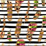 Seamless pattern with watercolor feathers. Can be used for textile print, design tile, wallpaper, abstract background. Seamless Pattern with Watercolor Feathers Royalty Free Stock Image