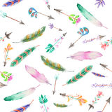 Seamless pattern of watercolor feathers and romantic arrows. Seamless pattern of colored feathers and romantic arrows painted with watercolors on a white vector illustration