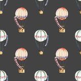 Seamless pattern with watercolor festive air balloons aerostats Stock Photography