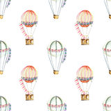 Seamless pattern with watercolor festive air balloons aerostats. Hand drawn isolated on a white background Royalty Free Stock Photos