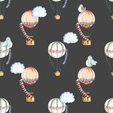 Seamless pattern with watercolor festive air balloons, clouds and cute birds Stock Photography