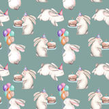 Seamless pattern with watercolor festive rabbits. Hand drawn isolated on a blue background Royalty Free Stock Photos