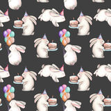 Seamless pattern with watercolor festive rabbits. Hand drawn isolated on a dark background Royalty Free Stock Photos