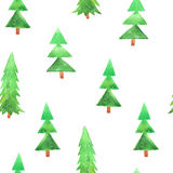 Seamless pattern with watercolor fir tree Stock Photo