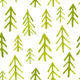 Seamless pattern with watercolor fir trees. Vector illustration, template for design and decoration Royalty Free Stock Photo