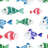Seamless pattern with watercolor fish