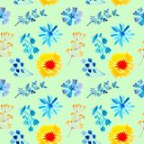 Seamless pattern watercolor floral blue background illustration stock illustration