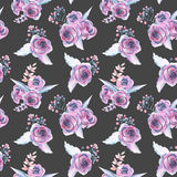 Seamless pattern with watercolor floral bouquets from purple roses Royalty Free Stock Images