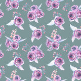 Seamless pattern with watercolor floral bouquets from purple roses Stock Photos